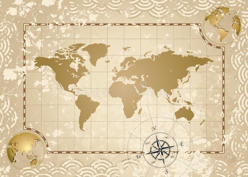De antieke Kaart van de Wereld vector illustratie