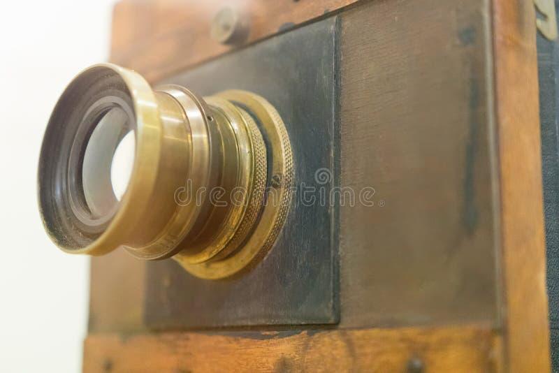 De antieke Oude Close-up van de fotocamera Oude uitstekende houten camera stock fotografie