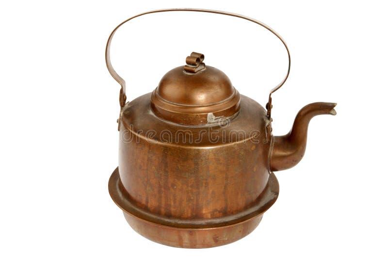 De antieke pot van de koperkoffie stock afbeelding