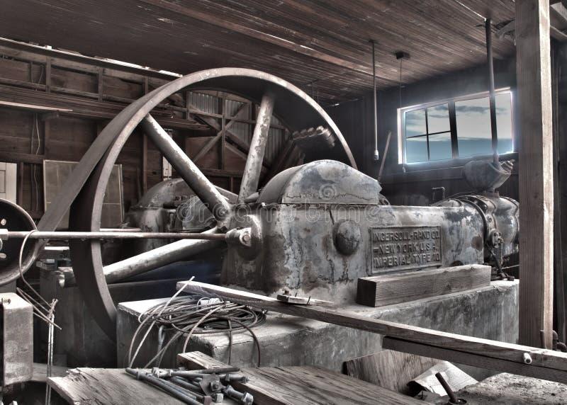De antieke Riem Gedreven Compressor van de Stoom stock fotografie