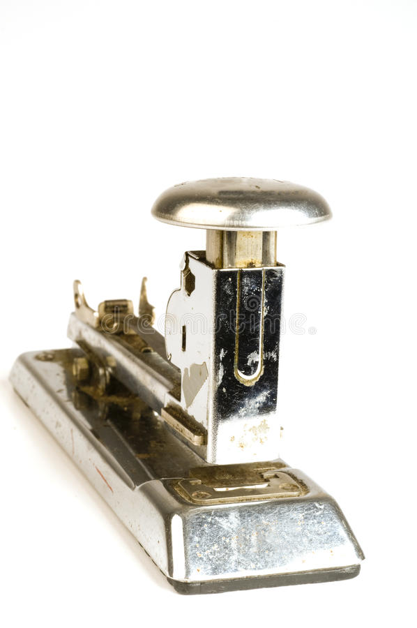 De antieke roestige levering van het nietmachinebureau stock foto's