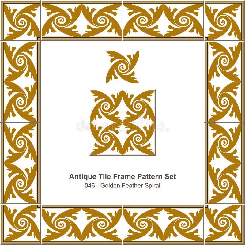 De antieke Spiraal van de het patroonset_046 Gouden Veer van het tegelkader stock illustratie