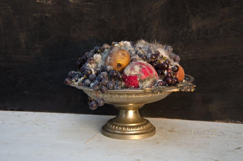 De antieke vaas van de voetstukschotel met diverse rotte vruchten royalty-vrije stock afbeelding