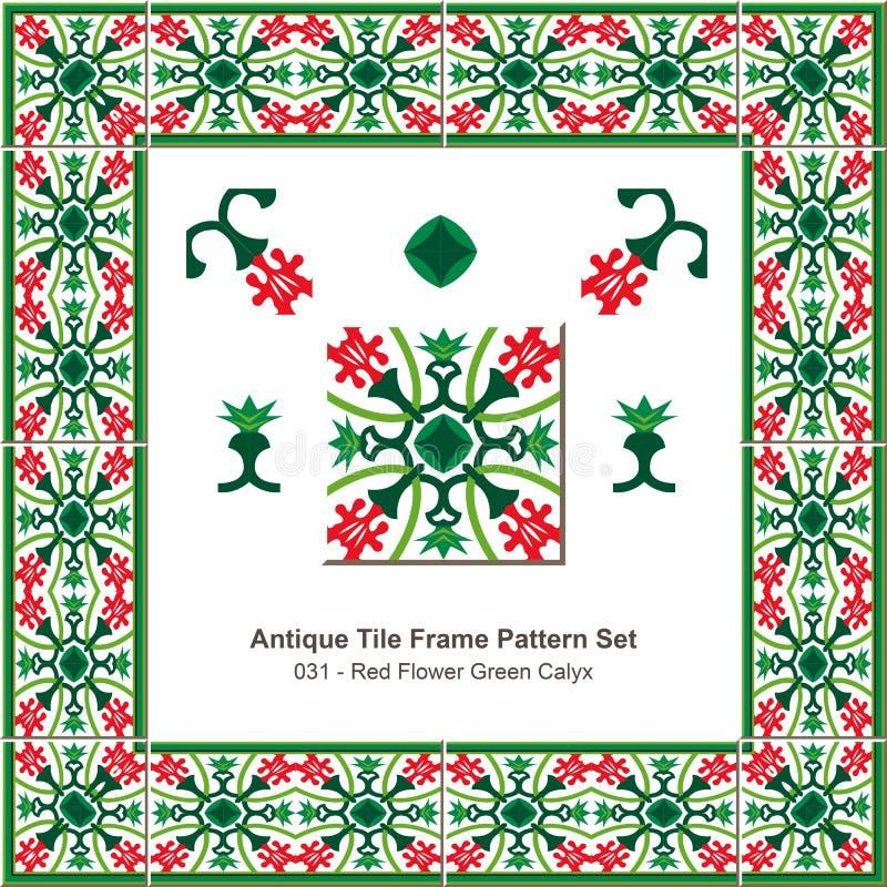 De antieke van de het patroonset_031 Rode Bloem van het tegelkader Kelk van Gree stock illustratie