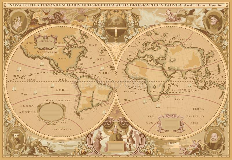 De antieke vector van de Kaart van de stijlWereld vector illustratie