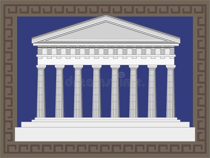 De Antieke Voorzijde Van De Tempel Stock Fotografie