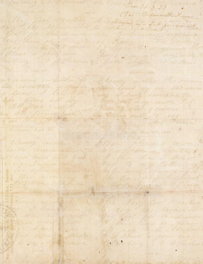 De antieke wijnoogst vouwde geweven document met manuscript