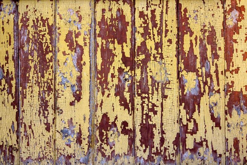 De antiquiteit verontrustte houten planken en raad stock foto