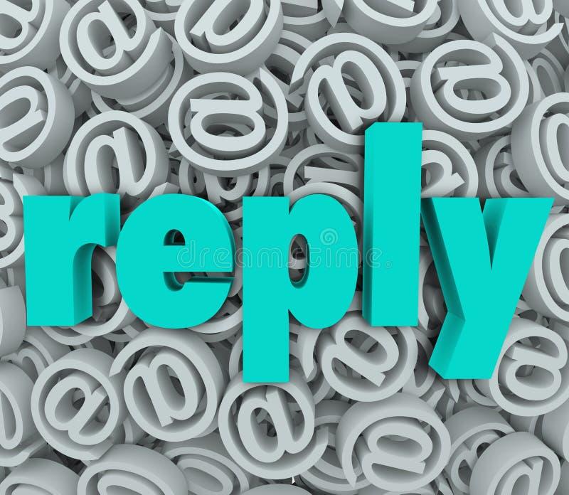 De antwoordreactie E-mail levert verzendt Antwoordbericht royalty-vrije illustratie