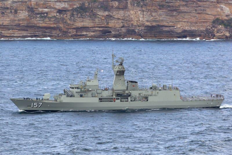 De anzac-Klasse van HMAS Perth FFH 157 fregat van de Koninklijke Australische Marine royalty-vrije stock foto's