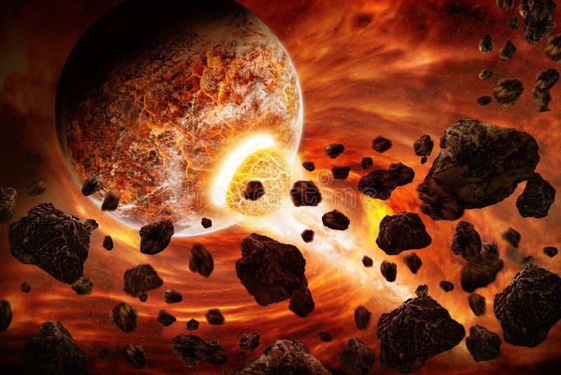 De apocalyps van de planeetexplosie vector illustratie