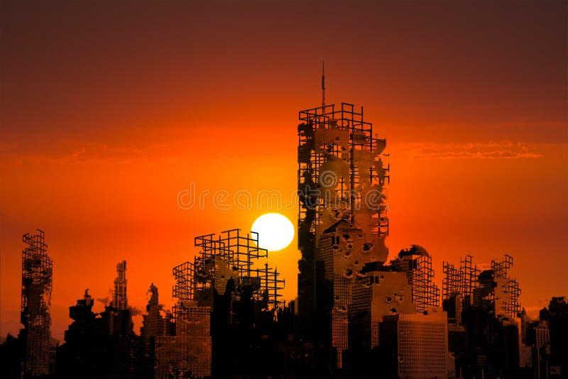 De apocalypsstad ruïneert Zonsondergangachtergrond stock foto