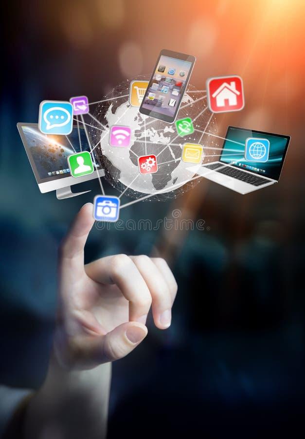 De apparaten en de pictogrammen van technologie aan digitale aarde worden aangesloten die stock illustratie