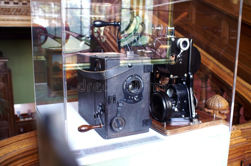 De apparaten van Cinematographe in het Museum Lumiere royalty-vrije stock afbeelding