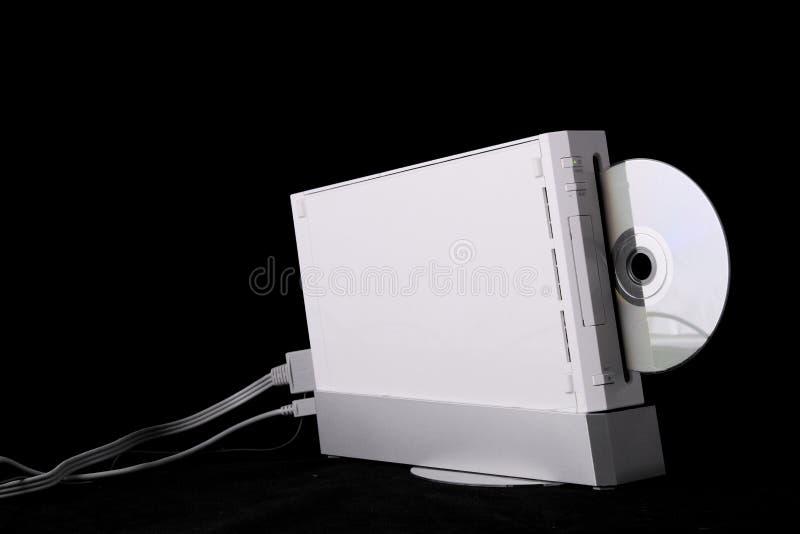 De apparaten van het videospelletje op zuivere zwarte achtergrond stock afbeeldingen