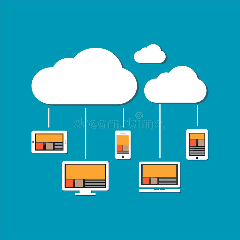 De apparaten verbinden met wolkenopslag De gegevensverwerkingsconcept van de wolk vector illustratie