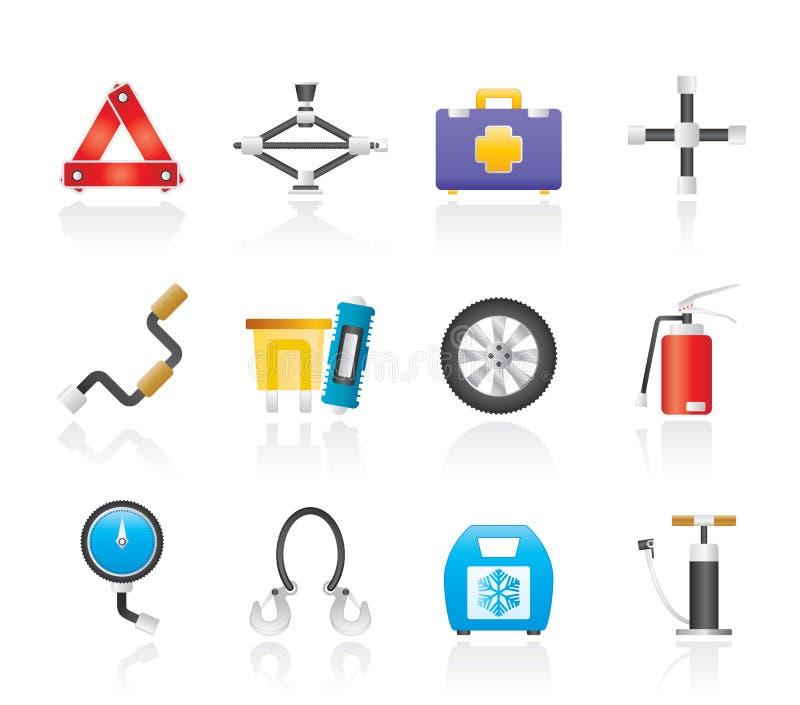 De apparatuur van de auto en van het vervoer pictogrammen stock illustratie