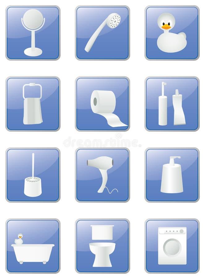 De apparatuur van de badkamers geplaatste pictogrammen, knopen vector illustratie