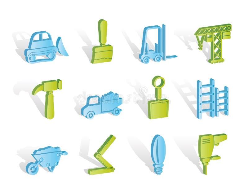De apparatuur van de bouw en van de Bouw pictogrammen stock illustratie