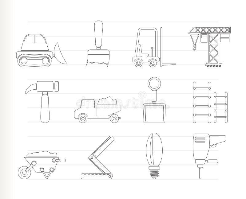 De apparatuur van de bouw en van de Bouw pictogrammen vector illustratie