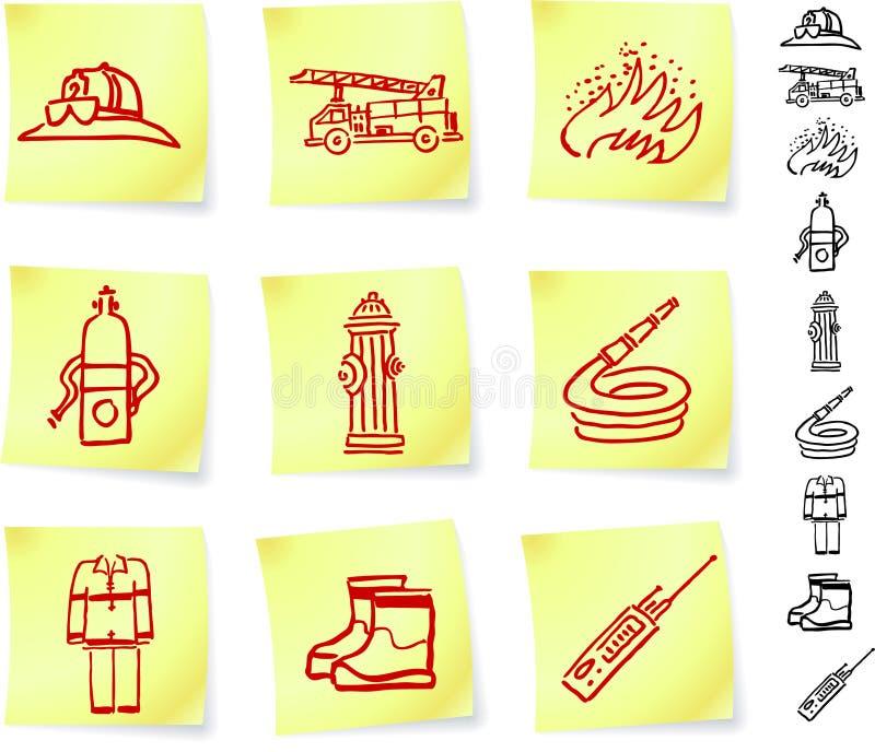 De Apparatuur van de brandbestrijder op de Nota's van de Post-it vector illustratie