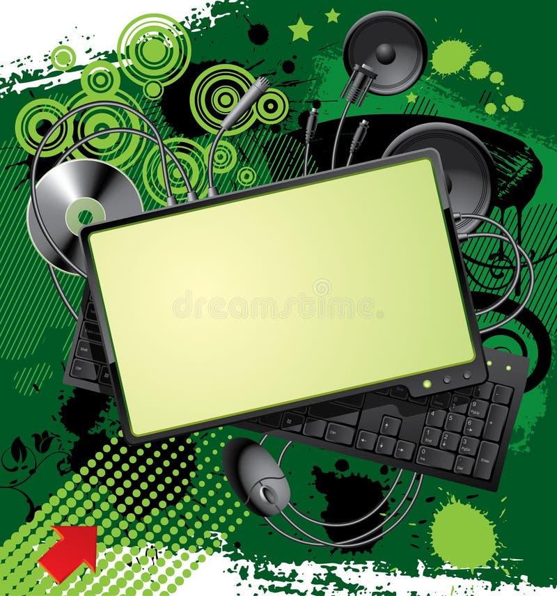 De apparatuur van de computer & banner vector illustratie