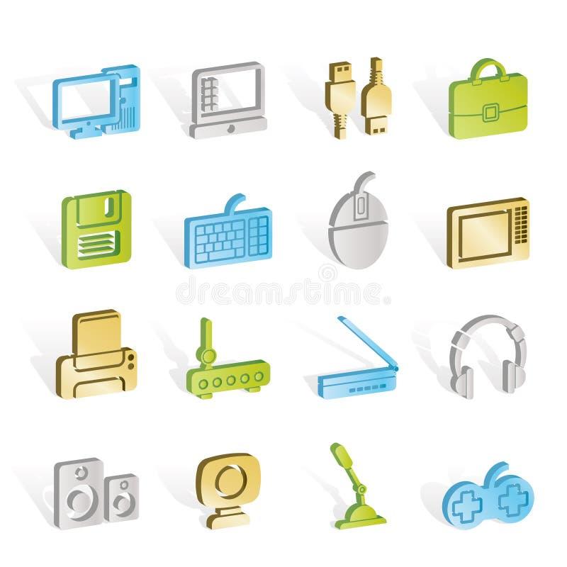De apparatuur van de computer en periferiepictogrammen vector illustratie