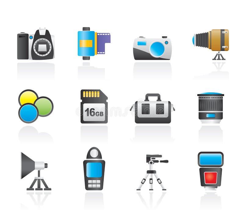 De apparatuur van de fotografie en hulpmiddelenpictogrammen vector illustratie