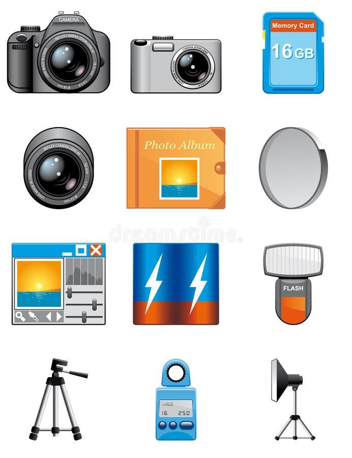 De apparatuur van de fotografie pictogrammen stock illustratie