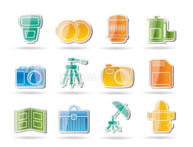 De apparatuur van de fotografie pictogrammen royalty-vrije illustratie
