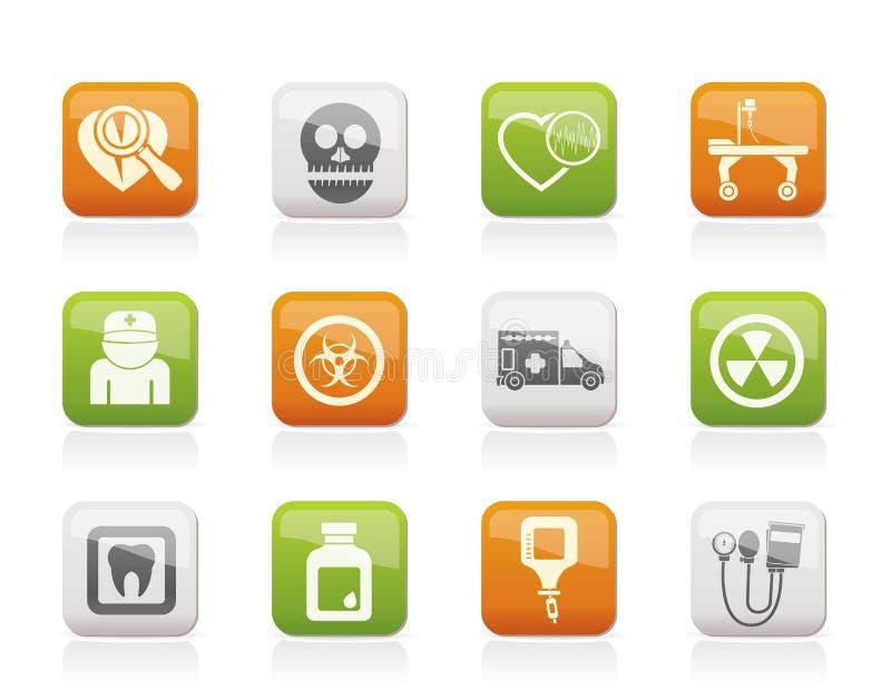 De apparatuur van de geneeskunde en van het ziekenhuis pictogrammen vector illustratie