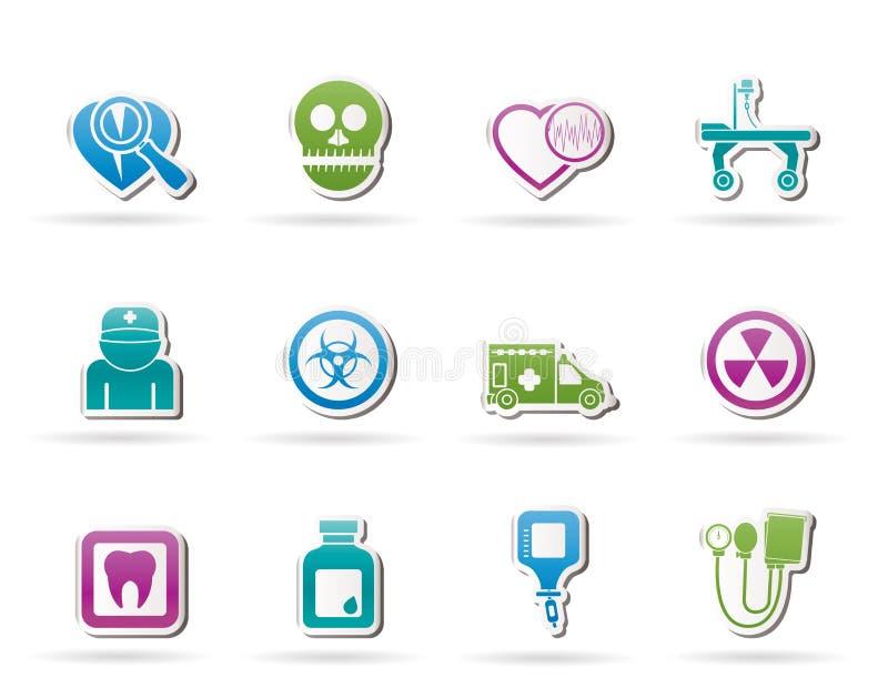 De apparatuur van de geneeskunde en van het ziekenhuis pictogrammen stock illustratie