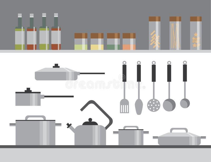 De apparatuur van de keuken Elementen Vlakke Illustratie Flessen, tot een kom vormen-Glas, Pan, Steelpan, Theepot royalty-vrije illustratie
