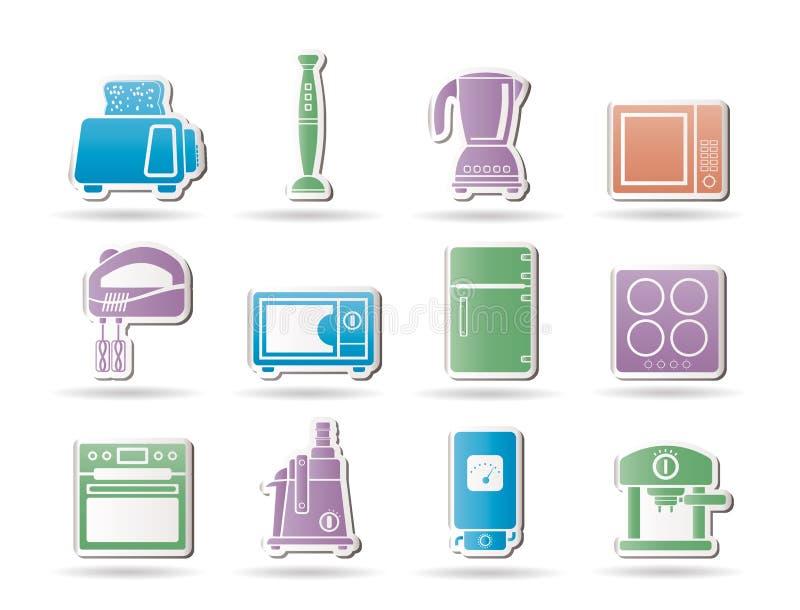 De apparatuur van de keuken en van het huis voorwerpen vector illustratie