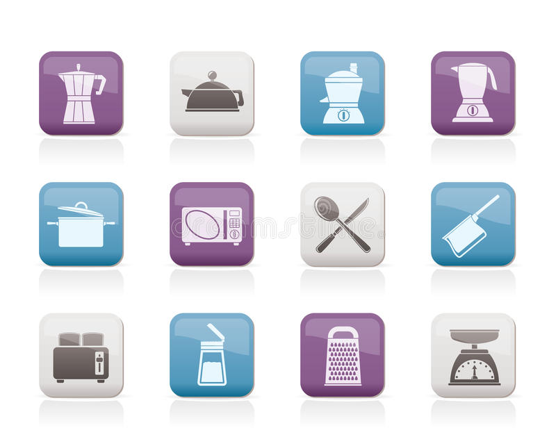 De apparatuur van de keuken en van het huishouden pictogram royalty-vrije illustratie