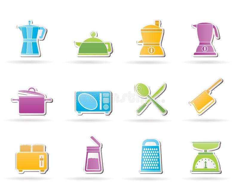 De apparatuur van de keuken en van het huishouden pictogram stock illustratie