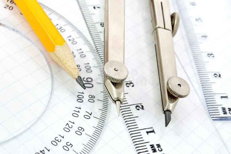 De apparatuur van de meetkunde stock afbeeldingen