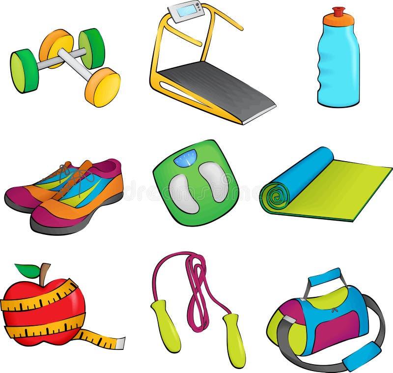 De apparatuur van de oefening pictogrammen stock illustratie