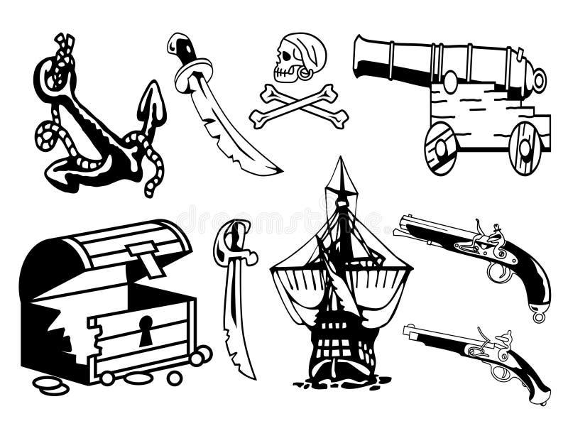 De apparatuur van de piraat royalty-vrije illustratie