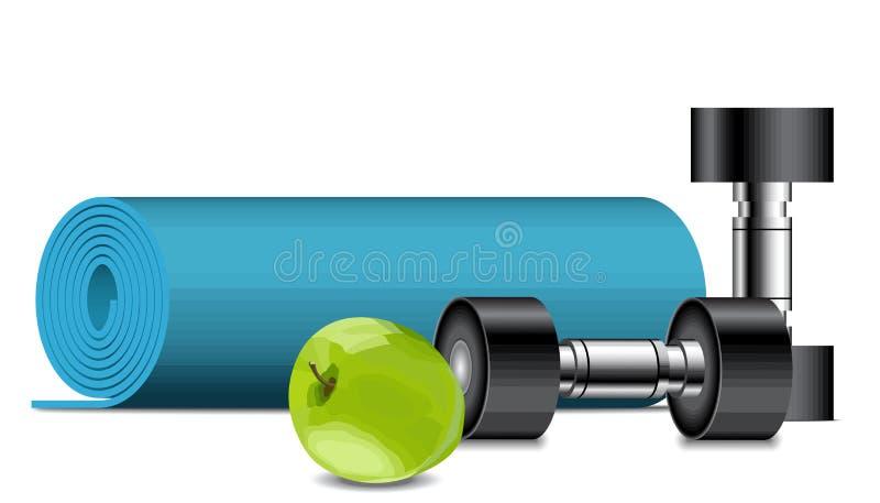 De apparatuur van de geschiktheid Apple, domoren en fitness mat, sportconcept stock illustratie