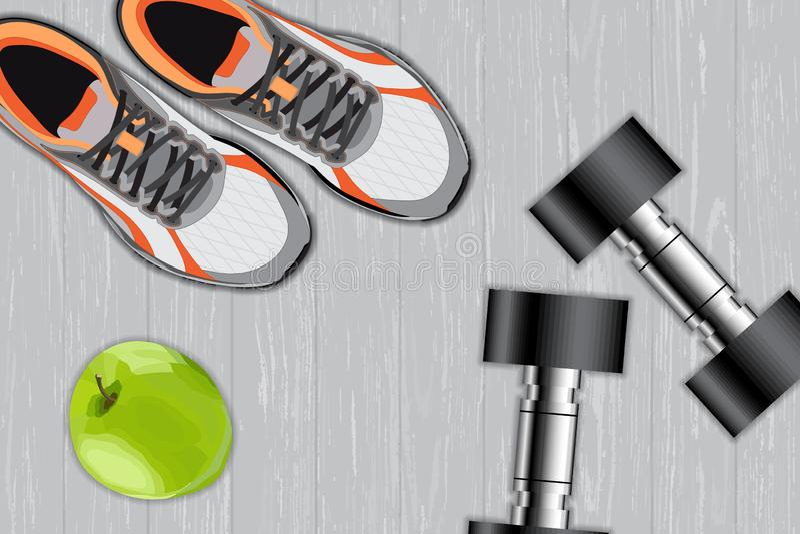 De apparatuur van de geschiktheid Apple, domoren en sportschoenen, sportconcept stock illustratie