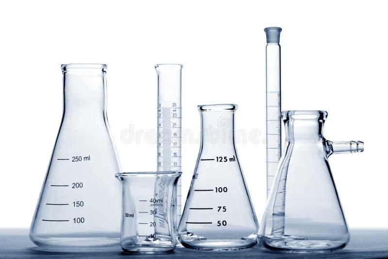 De Apparatuur van het glas in het Laboratorium van het Onderzoek van de Wetenschap royalty-vrije stock fotografie