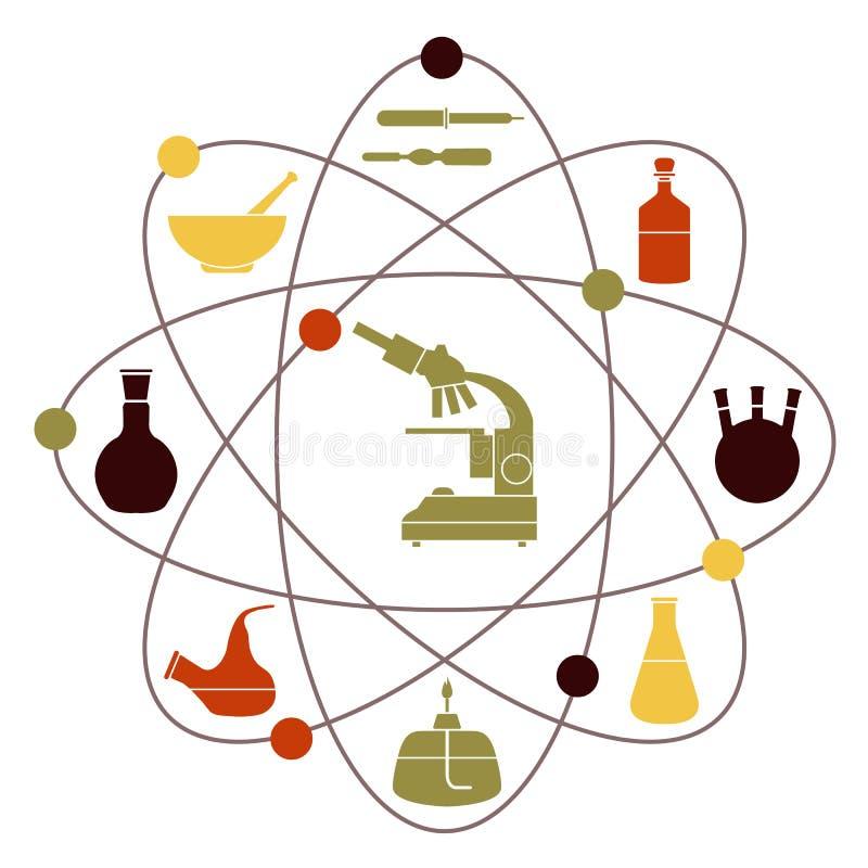 De apparatuur van het laboratorium Onderwijs Wetenschapsdag stock illustratie