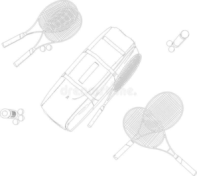 De Apparatuur van het tennis silhouetteert de Vector van de Verf stock illustratie