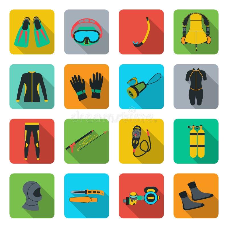 De Apparatuur van het vrij duiken BCD De sport onderwater, het wateroverzees, de handschoen en het flitslicht, masker en snorkele royalty-vrije illustratie