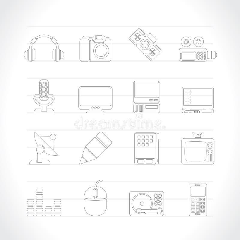 De apparatuur van media pictogrammen stock illustratie