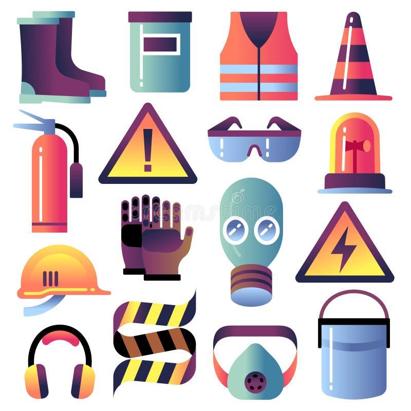 De apparatuur van de veiligheid Persoonlijke bescherming voor bouwwerkzaamheden Helm, handschoen en glazen De vectorpictogrammen  vector illustratie