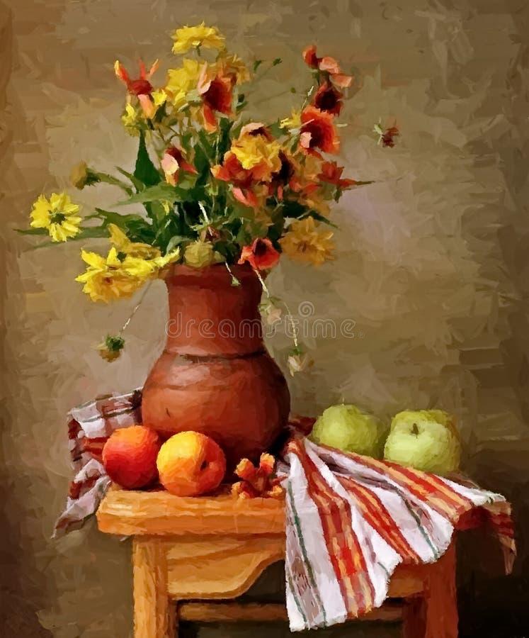 De appelen en de perziken Het schilderen van natte waterverf op papier Naïef art Abstract art Tekeningswaterverf op papier vector illustratie