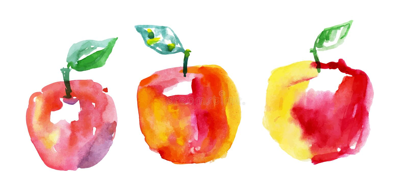 De appelen van de waterverftekening vector illustratie