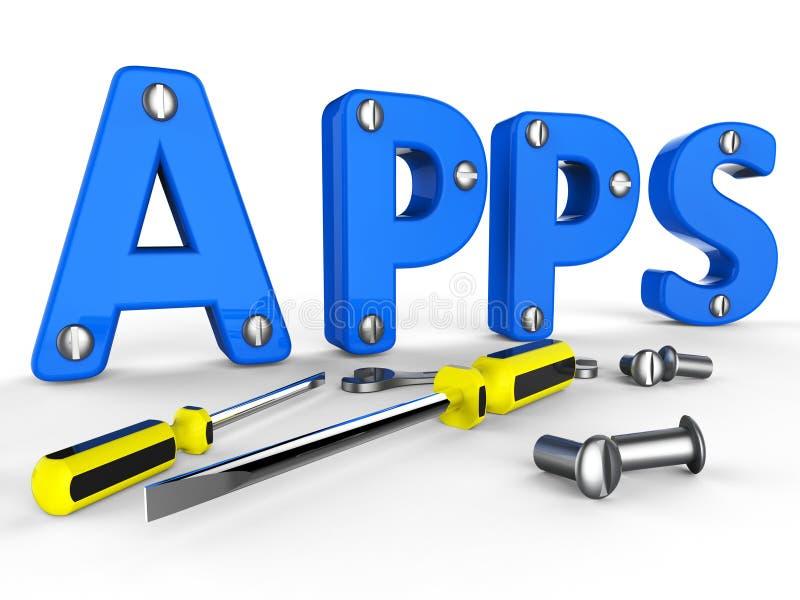 De Appssoftware toont Programma'sprogramma en Internet stock illustratie